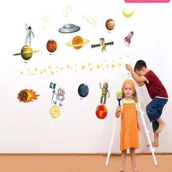 Cartoon Outer Space World Planet DIY Removable Wall Stickers Nursery Kids Bedroom Home Decor Mural Decal JM8351