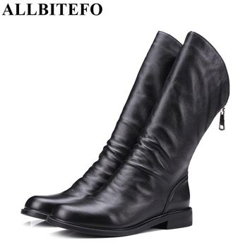 ALLBITEFO thick heel genuine leather round toe women martin boots fashion brand low-heeled ankle boots woman botas femininas