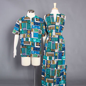 60s HAWAIIAN Shirt & DRESS Matching SET / 1960s His and Hers Tropical Tiki Outfits