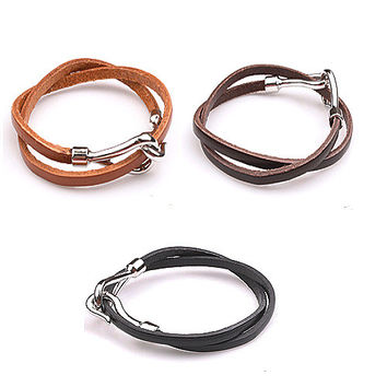 Shiny Great Deal New Arrival Gift Hot Sale Awesome Stylish Leather Strong Character Men Black Bracelet [6526719427]