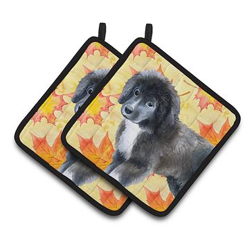 Newfoundland Puppy Fall Pair of Pot Holders BB9960PTHD