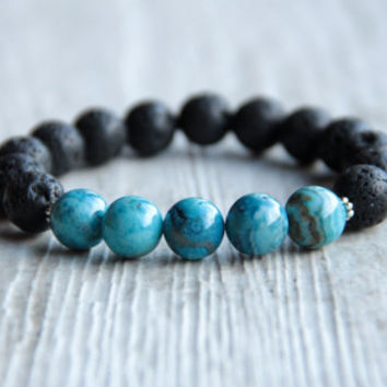 Mens black bracelet Birthday Present Gift for friend Gifts for guys Blue bracelet Lava beads Matte stone Agate For him Gemstone jewelry