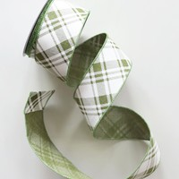 """Plaid Wired Ribbon in Cream Green - 2.5"""" Wide x 10 yd"""