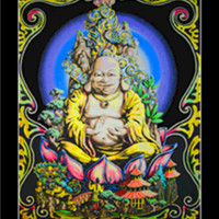 Buddha figure decor in Blacklight Wall Tapestry