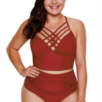 Summer New Fashion Solid Color Large Code Number Hollow Straps Two Piece Bikini Swimsuit Burgundy