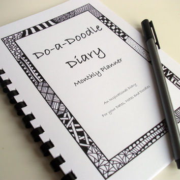 """PRINTABLE PDF 2013 Calendar, Zentangle Inspired Planner, All year Round, Zendoodle Art, """"Do-a-Doodle Diary"""", Month to View"""