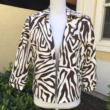 TRANSITIONS Women's Brown & Off White Zebra Print Blazer Jacket Size M