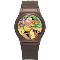 "Disney Winnie the Pooh's ""Tigger"" on a Boys or Girls Brown Plastic Watch Band"