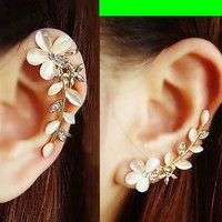 Cat's Eye Gem Flower Ear Cuffs (Pair, No Piercing) - LilyFair Jewelry