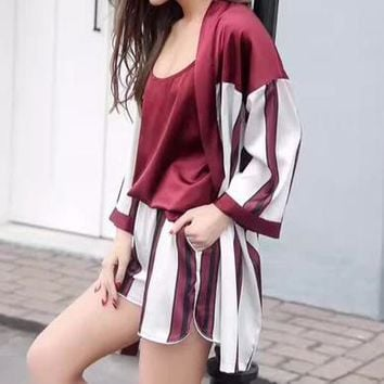 Victoria's Secret Women Silk Satin Vest Tank Top Shorts Coat Robe Sleepwear Loungewear Set Three-Piece