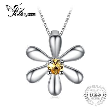 JewelryPalace Flowers Created Orange Sapphire Pendant 925 Sterling Silver Not Include Chain Fine Jewelry For Women