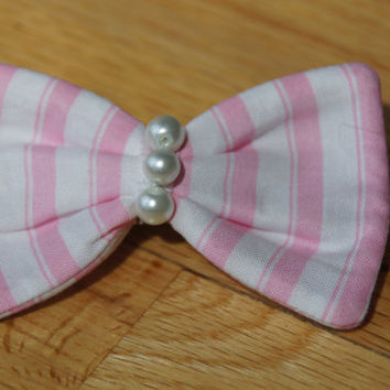 Soft Pink Stripes and Pearled Hair Bow