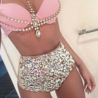 KEKAKA Crystal Bling Bling Swimwear Women 2018 Bathing Suit Rhinestone Diamond High Waist Swimsuit Women Push Up Bikini Set