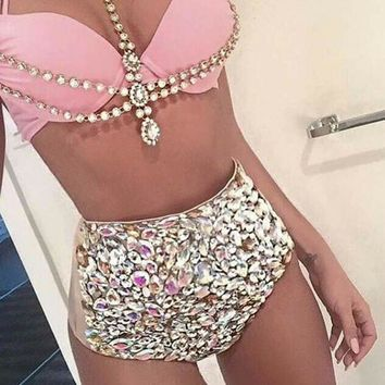 KEKAKA Sexy Crystal Bling Bling Swimwear Women 2018 Bathing Suit Rhinestone Diamond High Waist Swimsuit Women Push Up Bikini Set