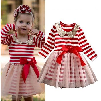 Toddler Kids Baby Girls Clothing Dresses Xmas Princess Stripe Bow Tulle Party Ball Gown Dress Long Sleeve Girl Clothes
