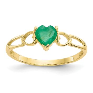 14k Yellow Gold Genuine Emerald Heart May Birthstone Ring