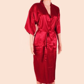 Unisex Red Silk Kimono Robe Bath Gown Chinese Male Long Sleepwear Solid Color Pajama Plus Size S M L XL XXL XXXL NR002