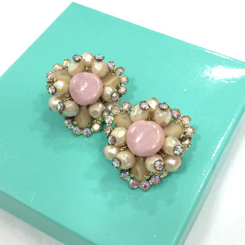Hobe Cluster Earrings, Pink & Cream Beaded Earrings, Pearlescent and Aurora Borealis Stones, Bridal Jewelry, Vintage Jewelry