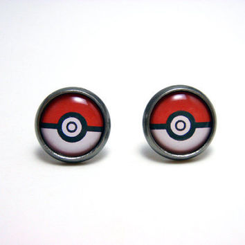 Pokemon Pokeball Studs - Tiny red and white pokemaster pokeball post earrings SMALL - Geekery Geek Chic Gamer