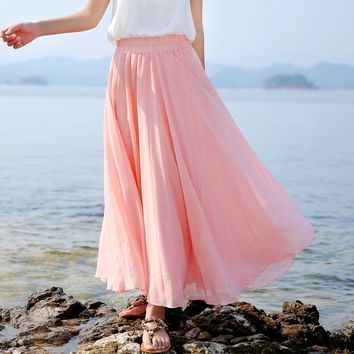 Casual Solid Ankle-length Natural Women Skirts