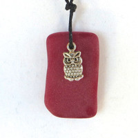 Ruby Red Sea Glass Owl Necklace by Wave of Life