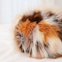 Jacquard Faux Fur Ball Pillow | Urban Outfitters