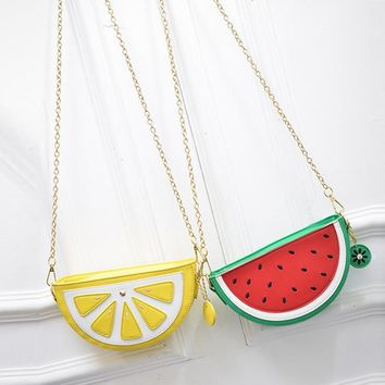 Watermelon Orange Shaped Bag Evening Clutch Bag Fruit Chain Messenger Small Crossbody Bags For Women Purses