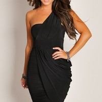 Sexy Solid Black One-Shoulder Ruched Drape Style Party Dress