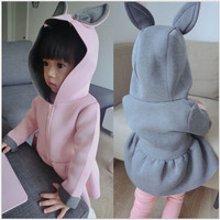 Infant Clothing Hooded Jackets for Girls Cute Animal Rabbit Air Layer Design Winter Baby Girl Outerwear Coats