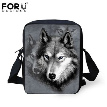 Shoulder Bags Cool Wolf 3D Pet Crossbody School Bag