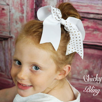 Girls Rhinestone Cheer and Dance Hair-bow Ponytail