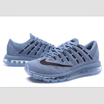 """NIKE"" Trending Air Max Toe Cap hook section knited Fashion Casual Sports Shoes Grey b"