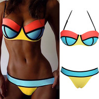 Yellow Halter Push up Padded Bikini