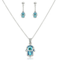 925 Sterling Silver Sapphire Blue Hamsa Hand and Eye Pendant Necklace with Matching Earrings Set
