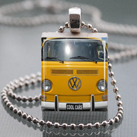 Yellow Volkswagen old Minivan Hippy van Scrabble Tile Pendant Necklace