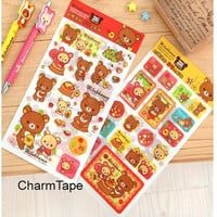 Rilakkuma bear adhesive Stickers 2 sets 4 Sheets San-X (plastic, paper sticker sheets)