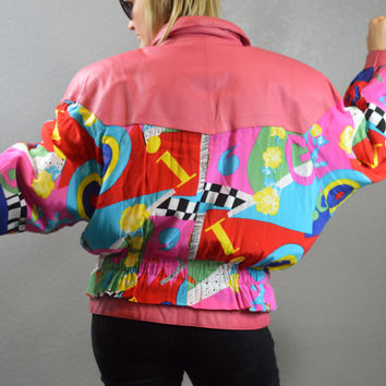 90s Vintage Pink Leather Jacket Colorful Zip Up