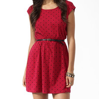 Polka Dot Knit Dress w/ Belt