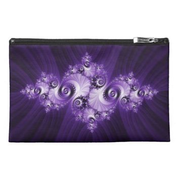White fractal on purple background travel accessory bag