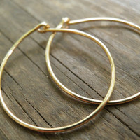 Hoops Earrings, Simple Medium Size 2.25 cm / 0.9 inch , Hand Crafted In 14k Gold Filled Modern Classic Design