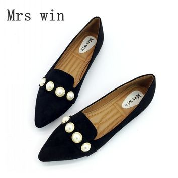 Spring Autumn Woman Flats Shoes Casual Loafers Slip On Women Square Toe Pearl Flock Single Shoes Ladies shoes Plus Size Black