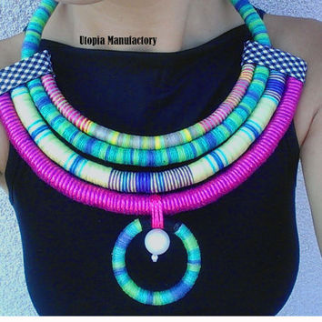 Erykah, Multi-Strand Necklace, Ankara Necklaces, African jewelry, Statement Necklace, Colorful necklaces, Boho Jewelry, Handmade Necklace