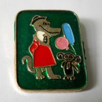 Gena Crocodile and Cheburashka Badge, Old Pin, Vintage USSR Rare Soviet metal collectible Pins