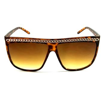 NWT Women Fashion Oversized Sunglasses Large Chain Frame
