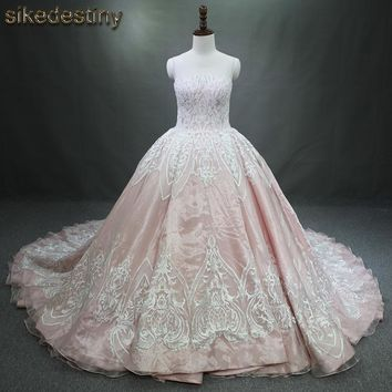 Real Photos 2017 Luxury Wedding Dresses long Tail Appliques Beaded See through Back Wedding dress Bridal Gowns WD261