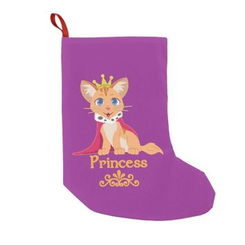 Princess Kitten Small Christmas Stocking