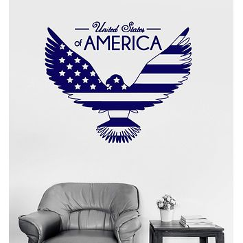Vinyl Wall Decal Bald Eagle United States Flag Symbol USA Sticker Mural Unique Gift (ig3238)
