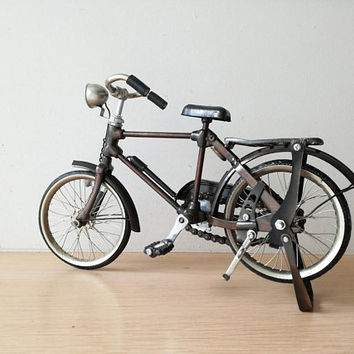 Vintage, black bicycle miniature, shabby, retro collectible, old style bike miniature, alloy brown/black, decorative bike, early nineties