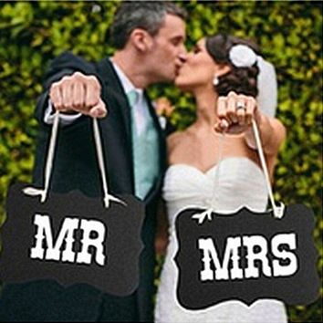 Couple Chair Mr & Mrs Signs Wedding Party Photo Props Banner Decoration 27x17cm = 5987815489