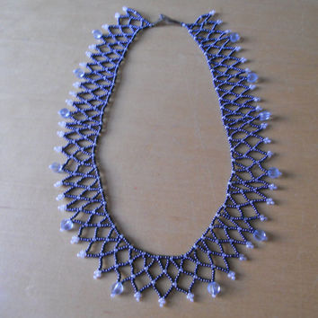SPIDERWEAVE / Netting / Collar Style BEADED NECKLACE-Color: Metallic Black & Pearl White w/ Light Blue Accent Beads; Native American Jewelry